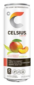 CELSIUS PEACH MANGO GREEN TEA